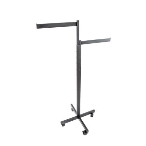 Clothing Rack 2 Way Rolling Black