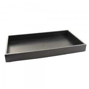 "1.5"" Stackable Black Plastic Tray"