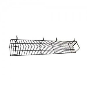 Black Metal Slatgrid Shelf With Wings 4'