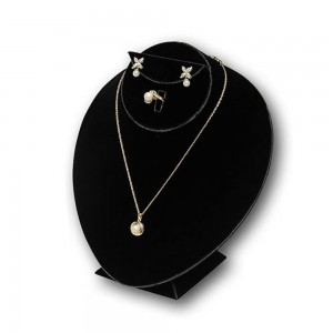 Black Velvet Bust Jewelry Display 8 1/2""