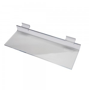 "12"" x 4"" Clear Acrylic Economy Slatwall Shelf"