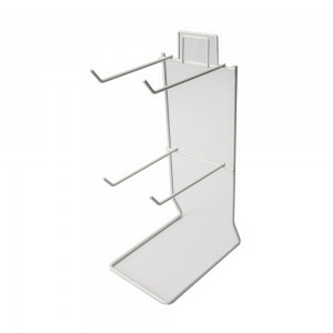 White 4 Peg Counter Wire Rack