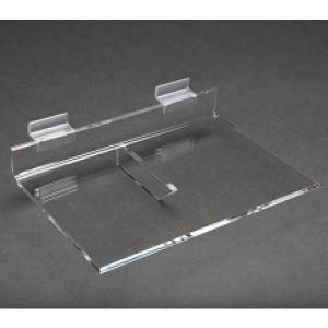 """Acrylic Slatwall Shelf with Brace 6""""x9"""""""