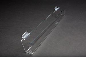 "24"" Slatwall Acrylic J Rack With Open Ends Drawing 2"