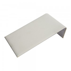 White faux leather display ramp for bracelets.