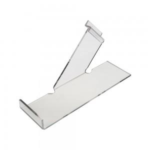 """Acrylic Slatwall Left Slanting Shoe Shelf with Toe Hold 10"""""""