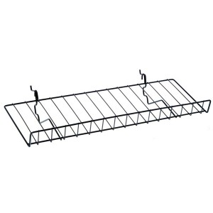 "Slatgrid Black Metal Angled Shelf With Lip 23"" 1"