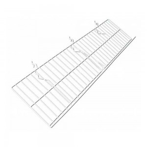 "Slatgrid White Metal Angled Shelf With Lip 46"" x 10"""