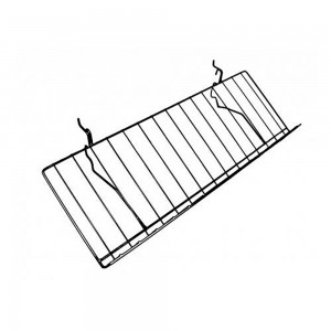 "Slatgrid Black Metal Angled Shelf With Lip 23"" x 12"""