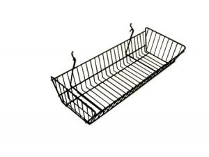 "Grid/Slatwall Basket 10"" x 24"" x 5"" Black: BSK12-B"