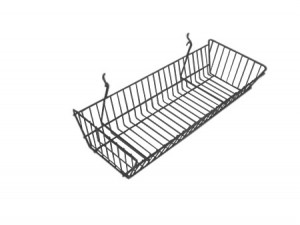 "Grid/Slatwall Basket 10"" x 24"" x 5"" Chrome: BSK12-CH"