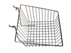 "Grid Slatwall Basket 15"" x 12"" x 5"" Chrome"