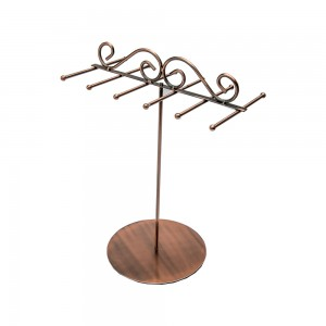 Copper Metal Countertop Jewelry Tree 6 Tiers