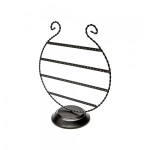Black Wire Circular Earring Display For 30 Pairs