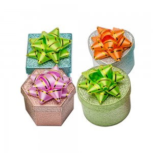 48 Embossed Metallic Finished Ring Boxes With Bows And Lids