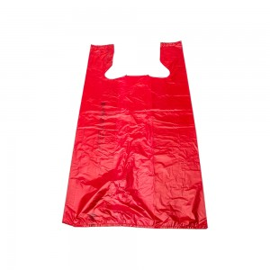Plastic Red T-Shirt Bags 12""
