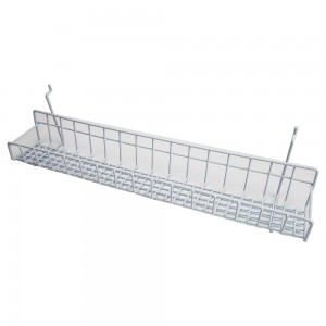 White Metal Slatwall Tray 23""