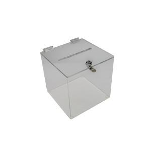 "Ballot Box 6"" Sq With Lock Clear"