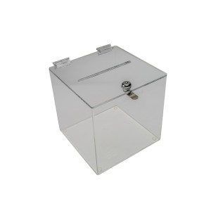 "Ballot Box 8"" Sq With Lock Clear"