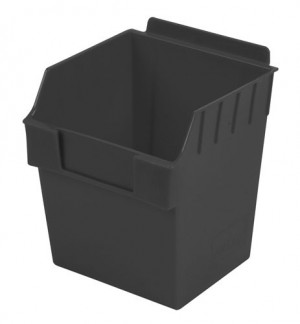 """Black Plastic Slatwall Bin 6""""x6""""x7"""""""