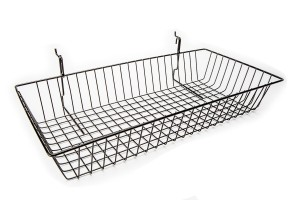 "Grid/Slatwall Basket 24"" x 12"" x 4"" Black: BSK11-B"