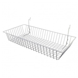 "Grid Slatwall Basket 24"" x 12"" x 4"" White 1"
