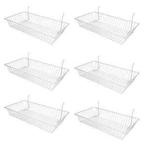 "Grid/Slatwall Basket 24"" x 12"" x 4"" White 1"