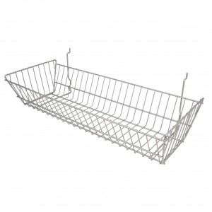 "Grid/Slatwall Basket 10"" x 24"" x 5"" Chrome: BSK12-CH 2"