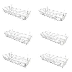 "Grid/Slatwall Basket 10"" x 24"" x 5"" White: BSK12-W 1"