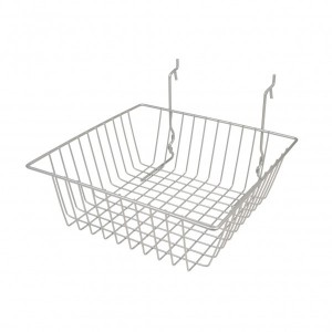 "Grid/Slatwall Basket 12"" x 12"" x 4"" Chrome: BSK13-EC 1"