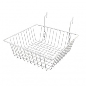 "Grid/Slatwall Basket 12"" x 12"" x 4"" White 3  7"