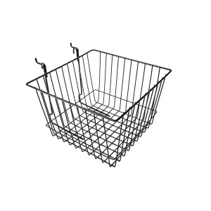 "Grid Slatwall Basket 12"" x 12"" x 8"" Black"