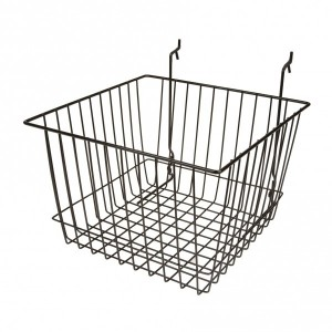 "Grid Slatwall Basket 12"" x 12"" x 8"" Black 2"
