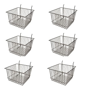 "Grid Slatwall Basket 12"" x 12"" x 8"" Black 2  3  4"