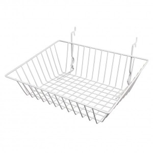 "Grid, Slatwall Pegboard Sloping Basket 15"" x 12"" x 5"" White: BSK16-W"