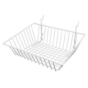 """Grid, Slatwall Pegboard Sloping Basket 15"""" x 12"""" x 5"""" White: BSK16-W"""