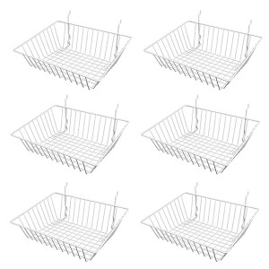 "Grid Slatwall Basket 15"" x 12"" x 5"" Chrome 1"