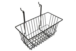 "Grid Slatwall Basket 12"" x 6"" x 6"" Black"