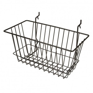 "Grid Slatwall Basket 12"" x 6"" x 6"" Black 1"