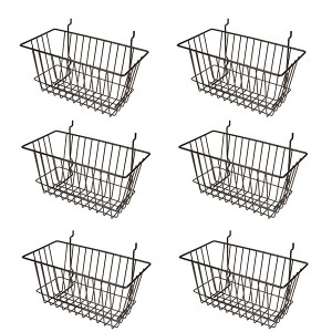"Grid Slatwall Basket 12"" x 6"" x 6"" Black 11"