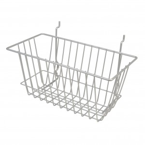 "Grid Slatwall Basket 12"" x 6"" x 6"" Chrome 1"
