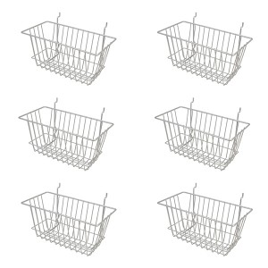 "Grid Slatwall Basket 12"" x 6"" x 6"" Chrome 31"