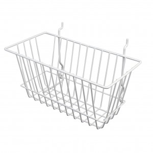 "Grid/Slatwall Basket 12"" x 6"" x 6"" White 2"