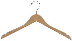 """Wood Hanger 17"""" Natural  2"""