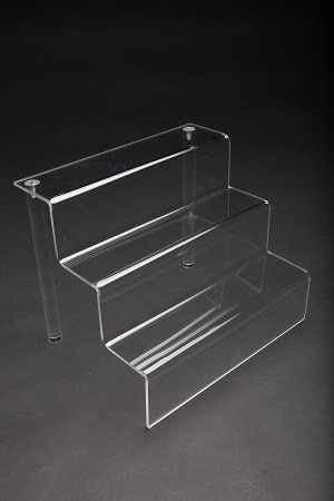 "Stair Step Riser 3 Tier 9.5"" x 12"" x 9.5"" Clear"