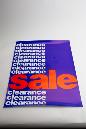 """Clearance"" Indoor Poster Blue Background With Multiple White Lettered Paper"