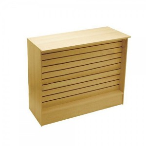 "Slatwall Front Checkout Stand 72"" Gloss Maple Finish"