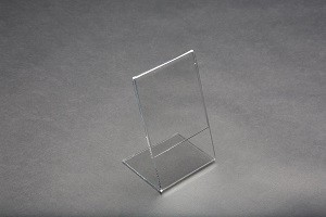 "Acrylic Slantback Countertop Sign Holder 3.5"" W x 5.75"" H Clear:  3"