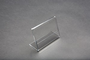 "3.5"" w x 2.5"" h"" Clear Acrylic Slantback Countertop Sign Holder 2"