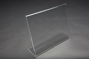 "Clear Acrylic Slightly Slanted Sign Holder for 8.5"" x 11"""